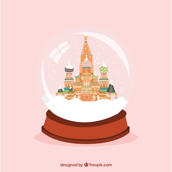 Saint Basil's Cathedral inside a snow globe
