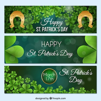 Saint Patrick Day Green Banner Collection