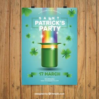 Saint Patrick Day Party Flyer with rainbow