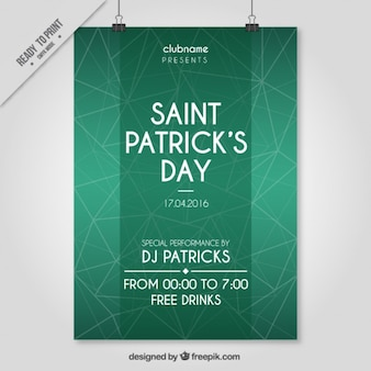 Saint Patrick Day Polygonal Party Poster