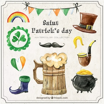 Saint Patrick Day Watercolor Elements