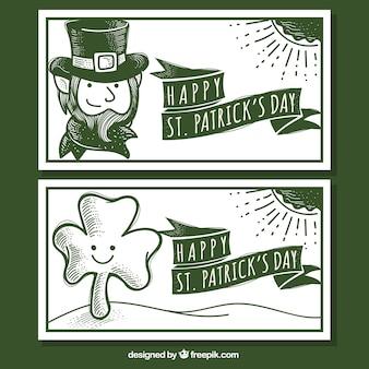 手描きエルフとクローバーと挨拶聖パトリックの日