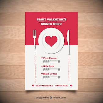 Saint valentine dinner menu