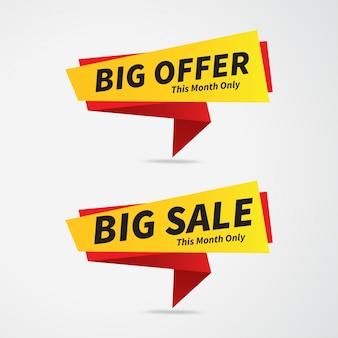 Продажа и большой рекламный баннер, теги продаж, этикетки продаж, векторные иллюстрации.