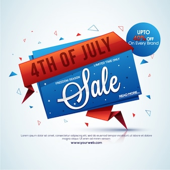 Sale background for independence day in origami style