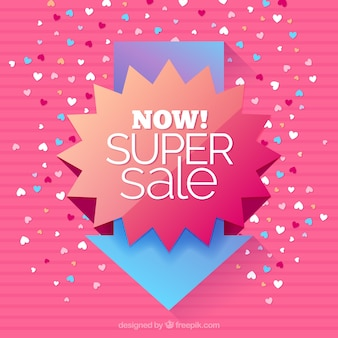 Sale background with arrow and hearts