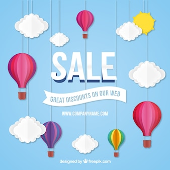 Sale background with hot air balloon design