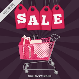Sale background with labels and shopping cart