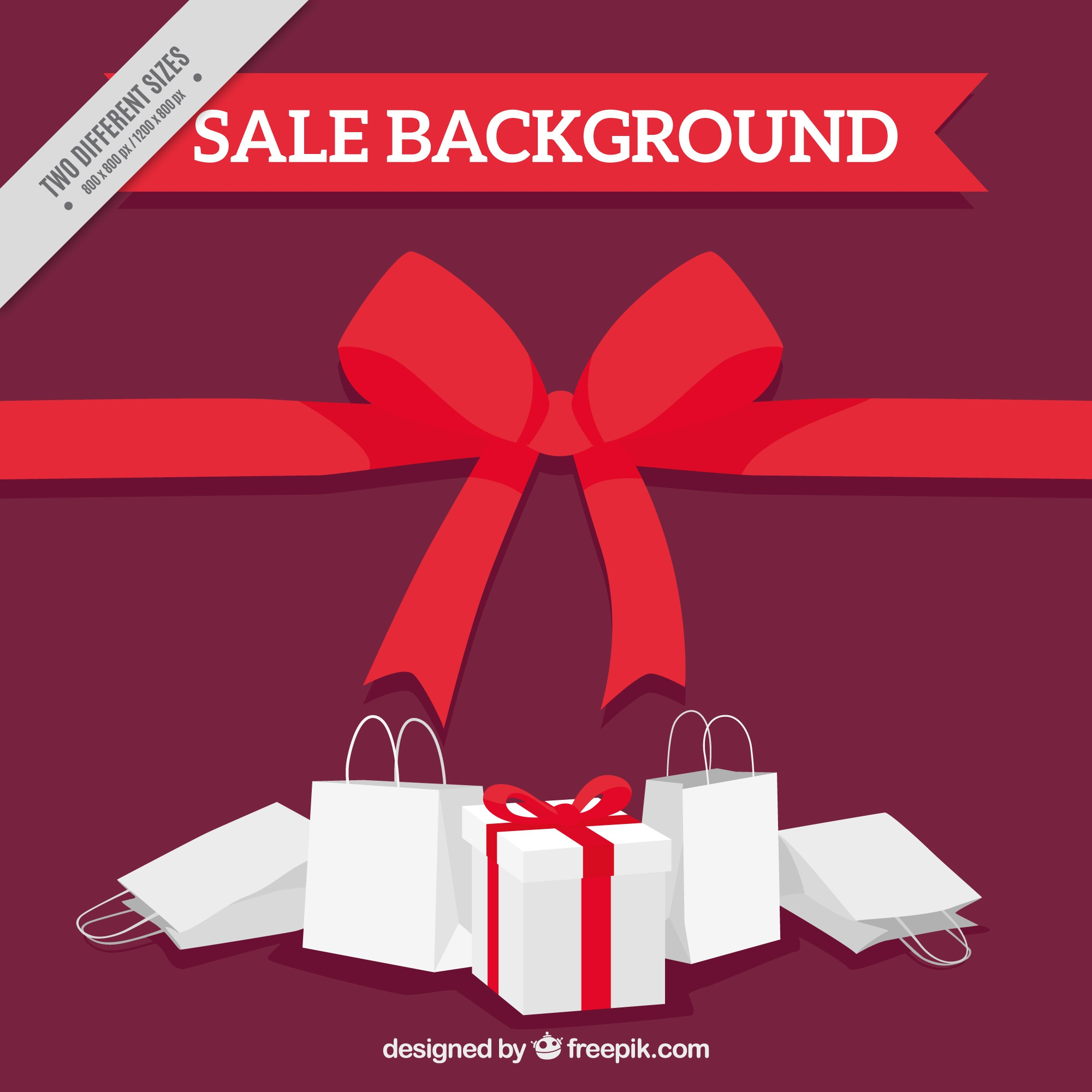 Sale background with red ribbons and white bags