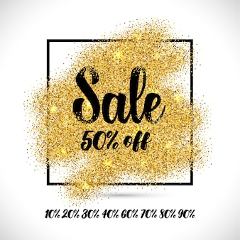 Sale banner with golden particles