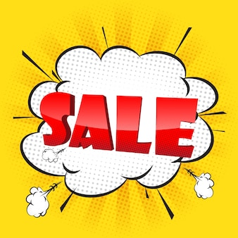 Sale banner yellow background with comic bubble