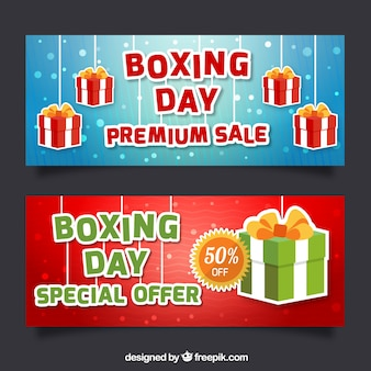 Sale banners for boxing day with gifts and round shapes