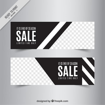 Sale banners with abstract shapes