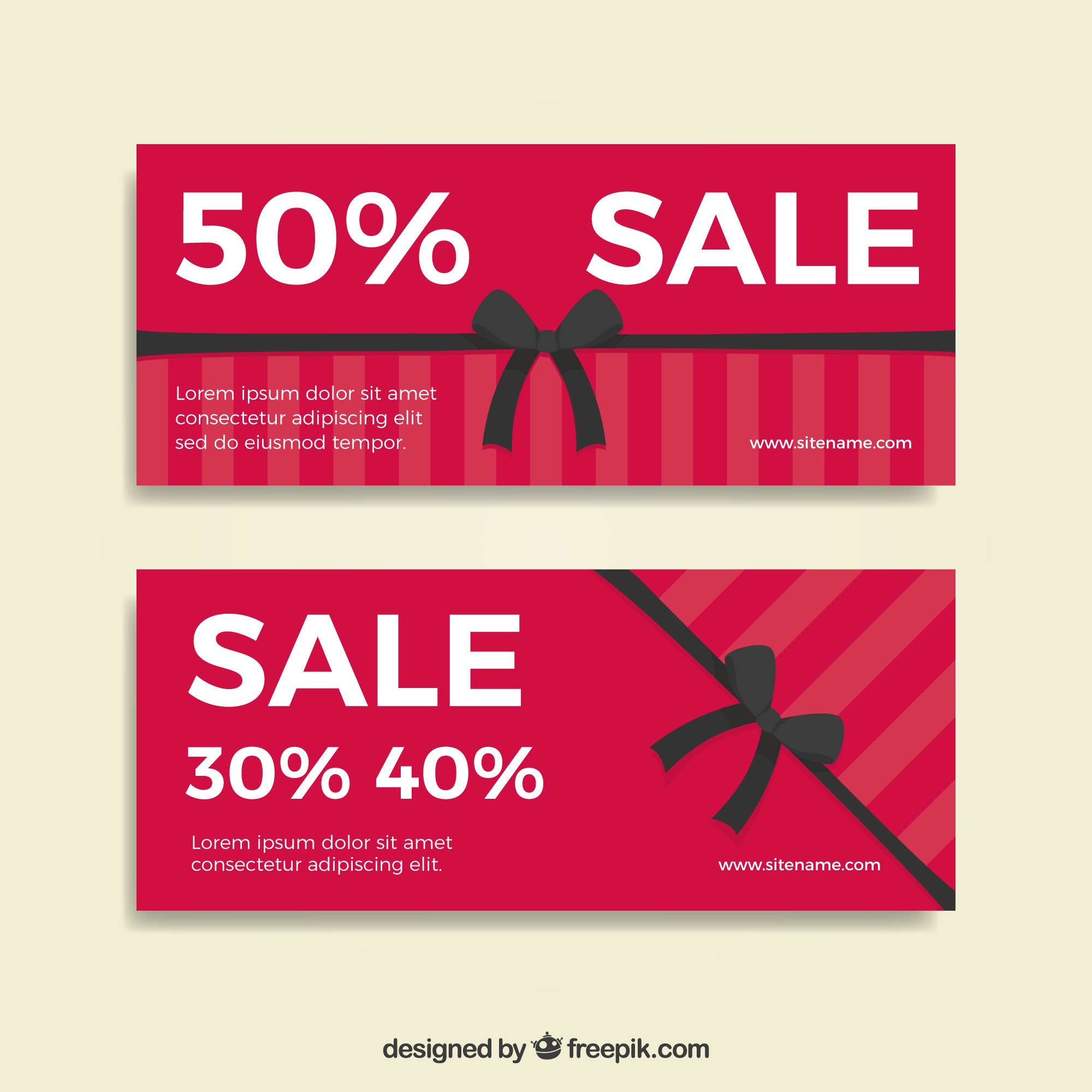 Sale banners with decorative black ribbons