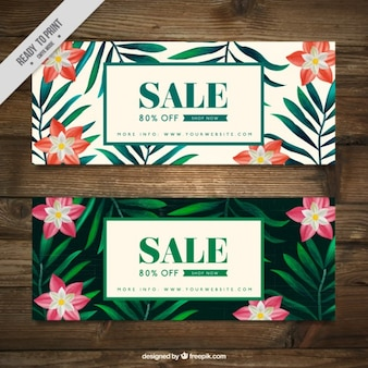 Sale banners with exotic flowers