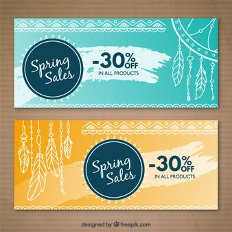 Sale banners with hand drawn elements in boho style