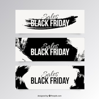 Sale black friday banners with black brush strokes