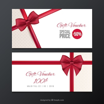 Sale coupons with a red bow