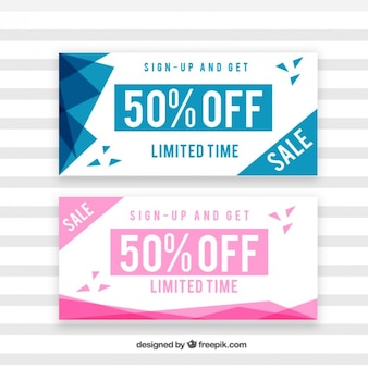 Sale coupons with abstract shapes