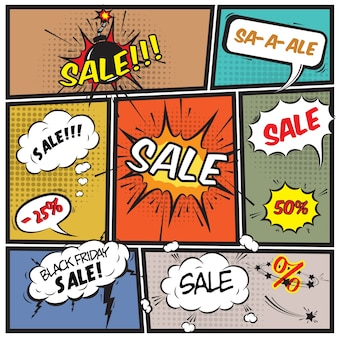 Sale elements with comic style