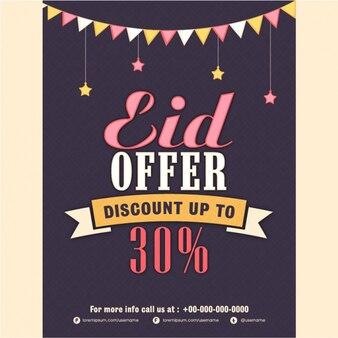 Sale flyer in flat design for eid mubarak