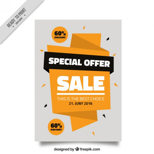 Sale flyer with origami banner