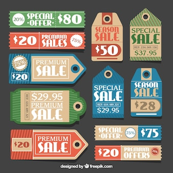 Sale labels with special offers and different shapes
