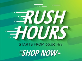 Sale Poster or Sale Banner Design with text Rush Hours.