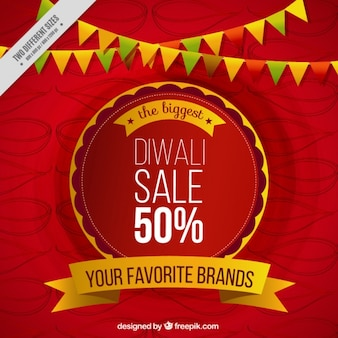 Sale red background of diwali