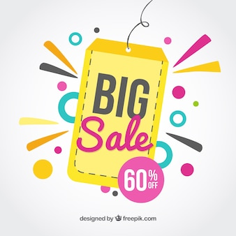 Sale tag background in flat design