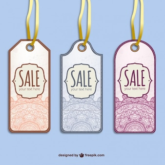 Sale tags with mandalas