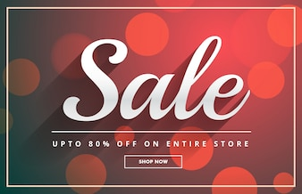 Sale voucher with bokeh background