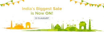 Sale web banner design for Independence Day.