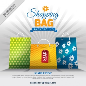 Sales background with colored bags