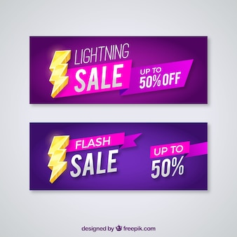 Sales banners with lightning