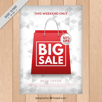 Sales brochure with shopping bag