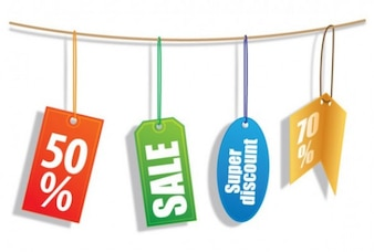Sales colors tags of different shapes on a rope