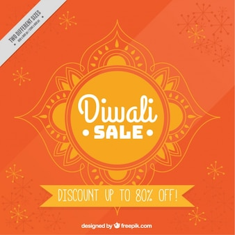 Sales orange background of diwali