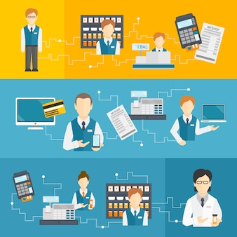 Salesman shop assistant flat banners set isolated vector illustration