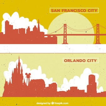 San Francisco and Orlando city silhouettes
