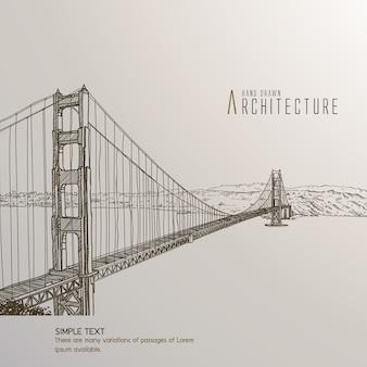 San francisco bridge hand drawn