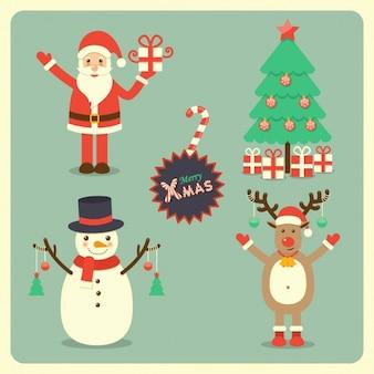 Santa claus, a reindeer, a snowman and a christmas tree