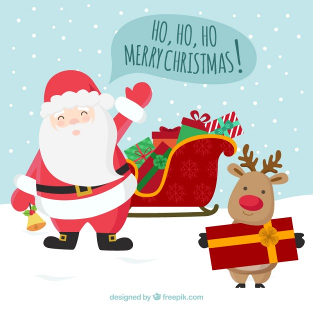 Santa Claus and Reindeer Christmas Greetings