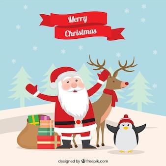 Santa claus christmas greeting cartoon