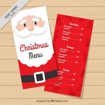 Santa claus christmas menu