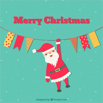 Santa claus hanging on a rope background