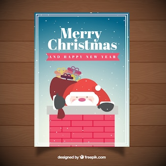 Santa claus inside a chimney card