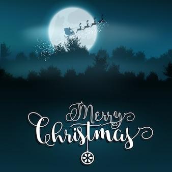 Santa claus on a magic sled christmas background