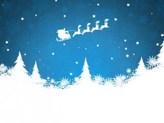 Santa claus on a sled silhouette background