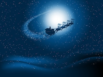 Santa claus sledge on starry sky background